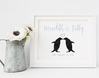 Personalised wedding gift - penguins wedding gift - wedding signs - 1st anniversary gift - paper anniversary - custom wedding gift - penguin