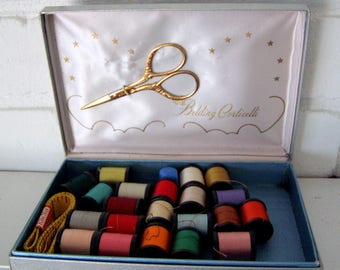 Belding Cortelli Silver with Stars Luxury Sewing Kit with Gilt Scissors, Tape Measure and Thimble, 1950's