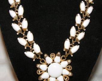 Vintage White Rhinestone Necklace by Volupte