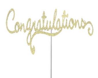 Congratulations Cake Topper- Any Color Glitter