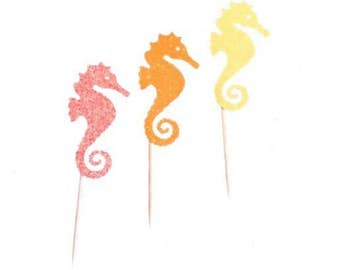 Seahorse Cupcake Toppers-ANY Glitter Color