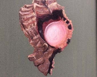 Acrylic painting on canvas murex shell