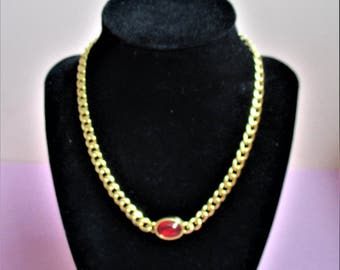 Napier Gold Necklace Red Focal Bead Cabochon Gold Statement Necklace Classic Gold Chain Choker Vintage Classic Napier Fashion Jewelry