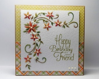 Handmade Stitched Birthday Card - To a special friend