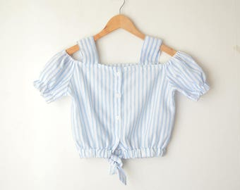 blue and white striped button down cropped blouse shoulder top 80s // S-M