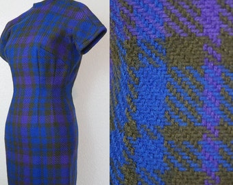 1950s Colorful Plaid Sheath Dress XS