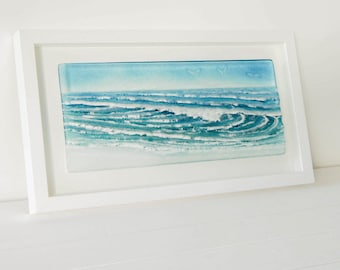 Blue/Turquoise Landscape Wave in a Frame - The Wave - fused glass frame 45cmx25cm or 18x10""