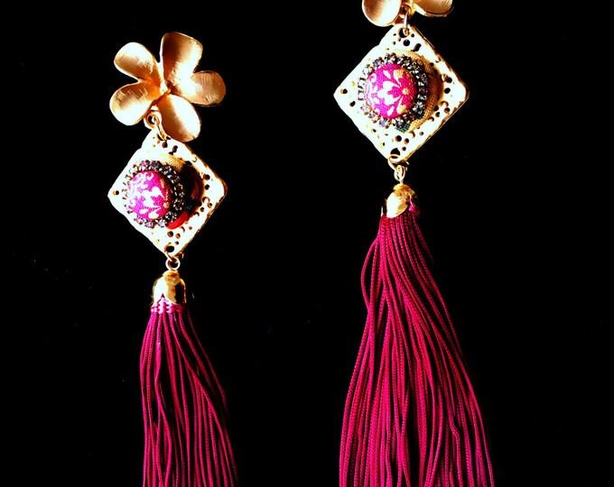 Flower silk tassel clip on earrings