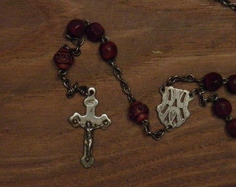 Antique  rosary necklace pendant wooden beads