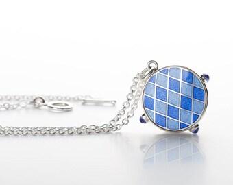 Charm Necklace, Silver Necklace, Enamel Necklace, Enamel jewelry.