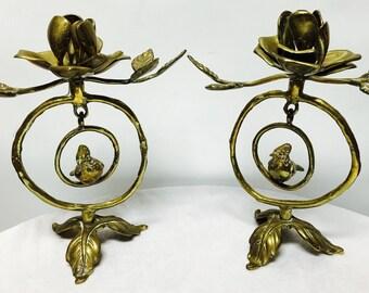 Vintage Brass Rose & Bird Swinging Candle Holder