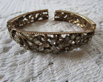 Vintage Holly Craft Hinged Clamper Bracelet