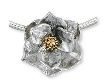 Magnolia Pendant Jewelry Gold Vermeil Handmade Flower Pendant MG3-CSVM