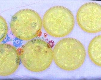 Coasters, Yellow Coasters, Set of 8 Crystaleen Creation Yellow Ware Coasters, Original Box..