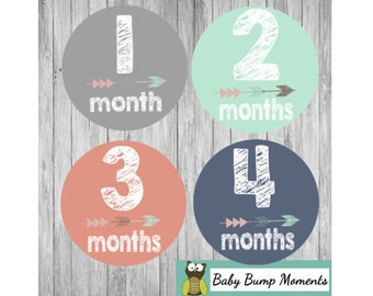 Printable Monthly Stickers, Monthly Baby Stickers, Tribal Baby Stickers, Baby Monthly Milestone, Arrows, Digital,  Teal and Coral