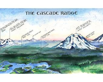 The Cascade Range  //  ILLUSTRATION // 15x5