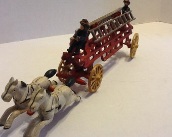 Cast Iron Hook and Ladder Fire Wagon - FREE SHIP