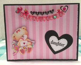 Daughter Bear Happy Valentines Day Card Handmade V30
