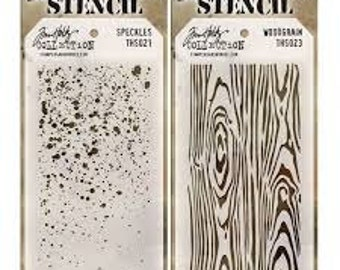Tim Holtz Stencils SPECKLES & WOODGRAIN Stencil set of 2 c005