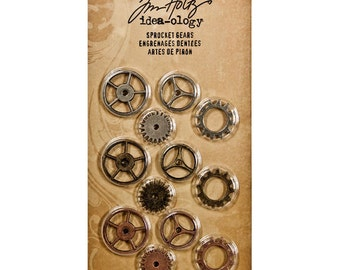 Tim Holtz Idea-ology SPROCKET GEARS great for steampunk projects Steampunk Metal Gears Steampunk projects 7.cc1x