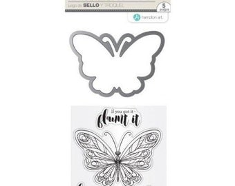 Hampton Art Stamp & Die Set LIFT ME UP Clear stamps Butterfly Stamp butterfly die SC0770 - cc52