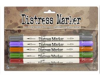 Tim Holtz Distress Marker Kit Set - 5 PC VIBRANT VINTAGE - TDMK50049 Kit cc03