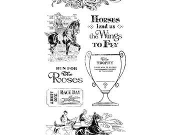 Graphic 45 OFF To The RACES 2 Cling Stamps IC0369S cc55