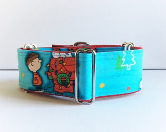 Merry Christmas my friends martingale collar (dog collar, greyhound martingale, Christmas  blue happy cotton satin)