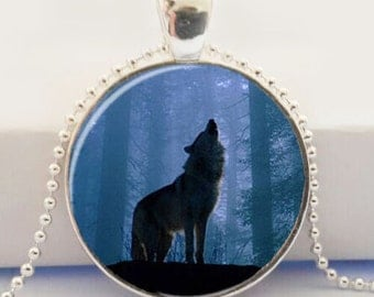 wolf forest kawaii animal picture pendant necklace