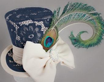 Navy Blue Mini Top Hat, Mini Top Hat, Lace Mini Hat, Fascinator, Kentucky Derby Fascinator Hat, Tea Party Hat, Wedding Hat, Women Top Hat