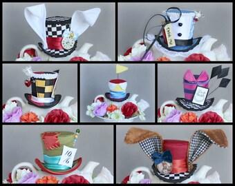 Set of 7 Wonderland Mini Top Hats,Mad Hatter Hat, White Rabbit Hat, Red Queen Hat, Tweedledee Dum Hat, March Hare Hat, Cheshire Cat Hat