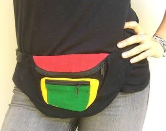 Rasta Fanny Pack - Hip pack - Handmade in Guatemala (018F)