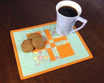 Quilted Mug Rug, Green and Orange Snack Mat, Mini Placemat, Luncheon Mat, Handmade Mini Quilt, Quilted Mugrug, Gifts Under 15, Mothers Day
