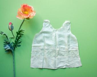 Antique Vintage 20s 30s Victorian White Cream Silk Lace Delicate Slip Dress undergarment / 18-24 2t Month Baby Girl