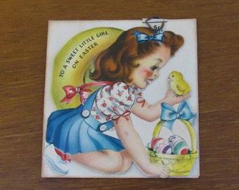Vintage Hallmark Easter Card for girl, Hallmark, Hall Brothers, (c)1945, Unused