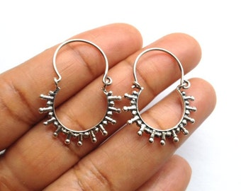 Boho Earrings/ Silver Hoop Earrings/ Creole Hoop Earrings/ Silver Boho Earrings/ Sterling Silver Boho Earrings/ / Mothers Day Gift