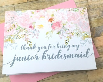 Thank you for being my junior bridesmaid - jr bridesmaid wedding card - bridal party cards - flower girl - bridesmaid - GARDEN ROMANCE