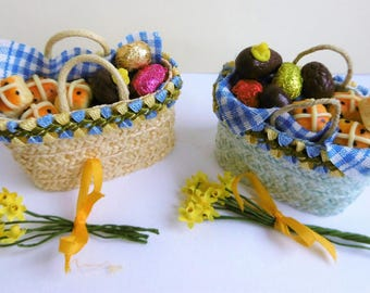 One inch scale Easter goodies, a variety of baskets for miniature celebrations