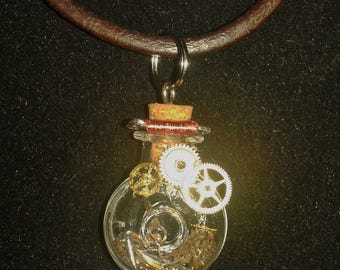 Gears in time bottle necklace