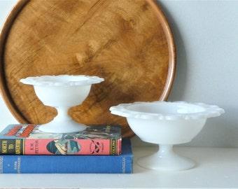 White Milk Glass Pedestal Candy Dish  - Milk Glass Pedestal Compote - Milk Glass Vase - Opal Glass Vase - Wedding Decor