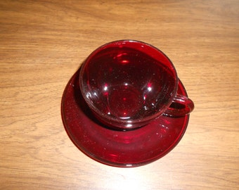 Vintage Red Glass Cup and Saucer