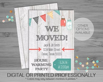 Mason Jar Banner We've Moved/House Warming Party Invitation - Custom - Printable