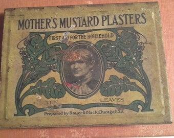 Vintage Mothers Mustard Plaster Tin, Vintage Bauer And Black, Vintage Advertising Tin, Vintage Medical Tin, 1910s