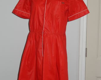 Vintage Red Romper or Jumpsuit by Sasson with White Piping - Size 8/9