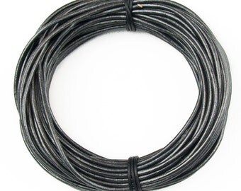 Gunmetal Metallic Gray Round Leather Cord 2mm 10 Feet