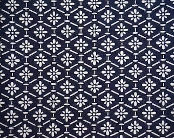 Hanabishi Vintage Japanese indigo cotton kimono fabric