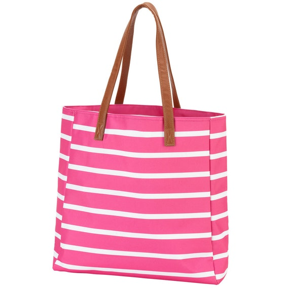 Pink stripe tote purse tote bag canvas tote leather handle tote monogram tote LSU clemson embroidered bag tote bag monogram bag