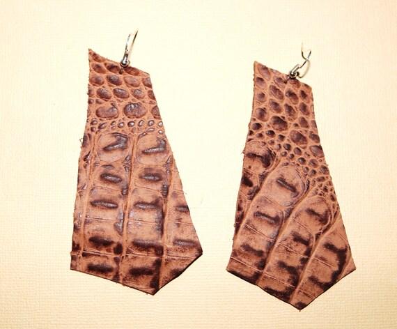 Pentagon- Geometric - Lightweight leather earrings- Dangle Earring - Drop earring - Brown and tan Crocidile