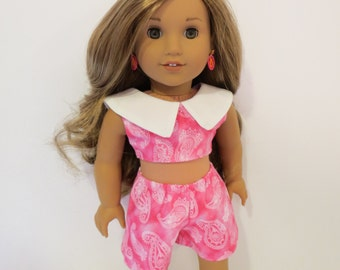 """18"""" Doll Clothes - 1950's Cropped Top and Shorts - Made to fit AG and similar 18 inch dolls"""