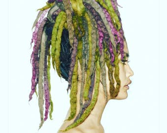 Wool Dreadlocks Custom Wool Dreads Handmade As seen in Marc Jacobs Fashion Show Hair Extensions Wool Dreads Ombre Hair Accessories Set of 45